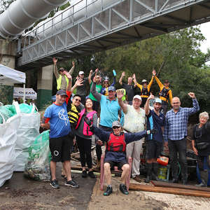 volunteers and partners in Georges Riverkeeper and Ocean Crusaders' Georges River Clean up join City of Canterbury Bankstown's Mayor Khal Asfour (pictured second to the right) for a photo at the event.