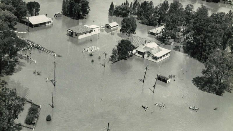 Black and white aerial image of Georges River flooding in 1956