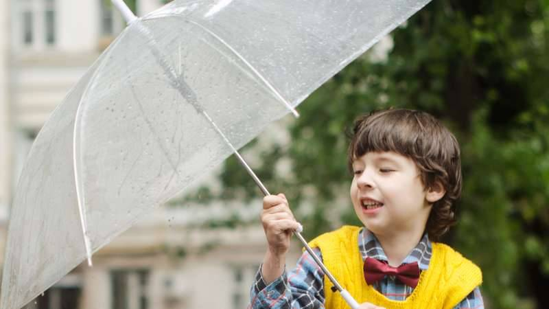 Boy holding umbrella
