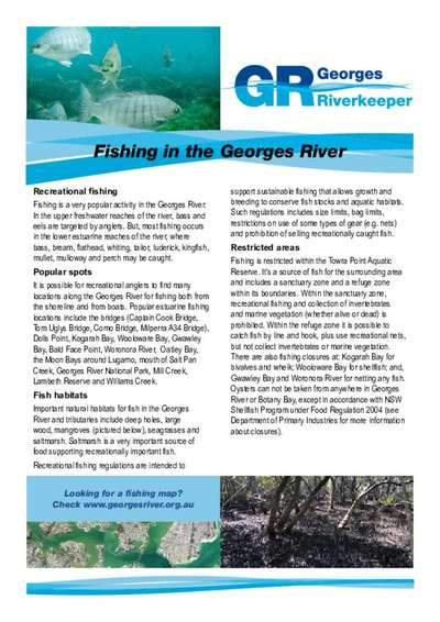 Fishing in the Georges River Factsheet