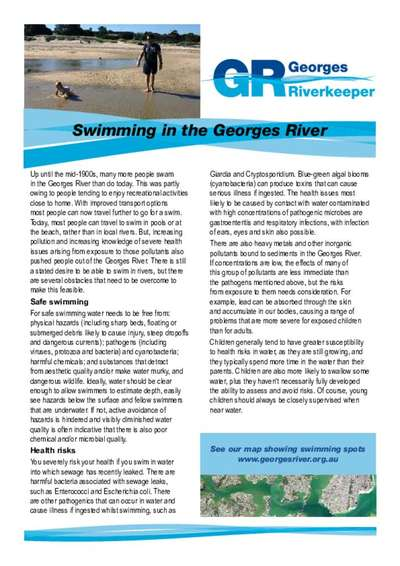 Factsheet about swimming in the Georges River