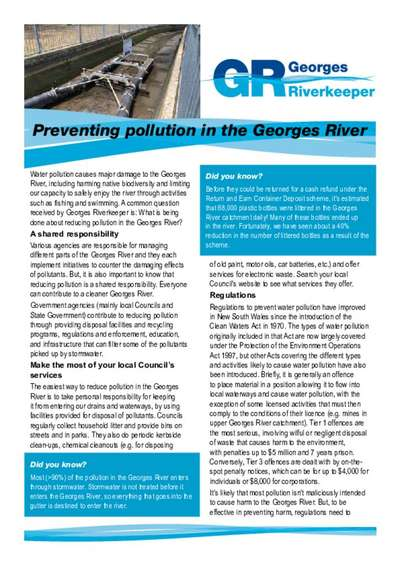 Fact Sheet about preventing pollution in the Georges River